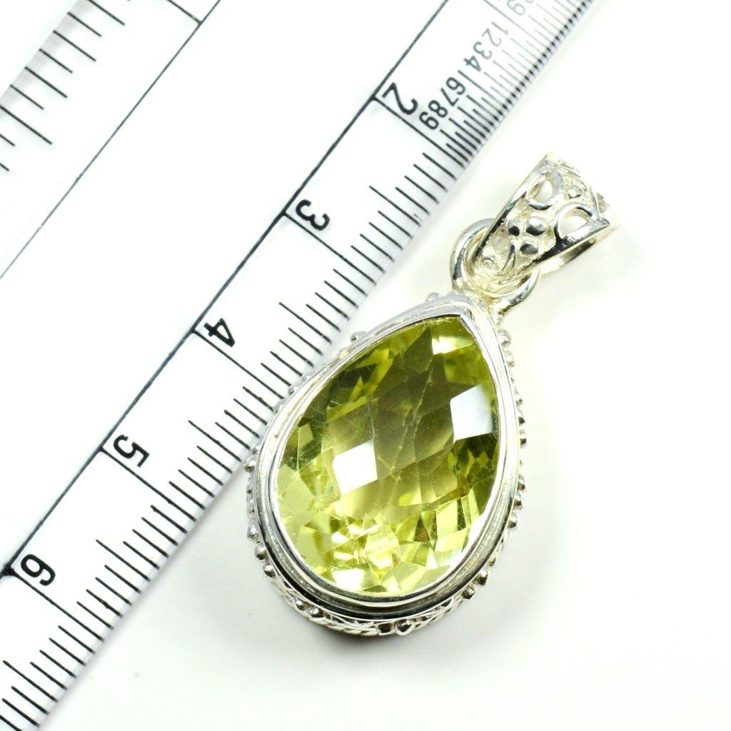 Jewelryonclick Genuine Pear Cut Sterling Silver Lemon Quartz For Women Fashion Jewelry