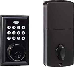 AmazonBasics Electronic Deadbolt Door Lock, Traditional, Oil Rubbed Bronze