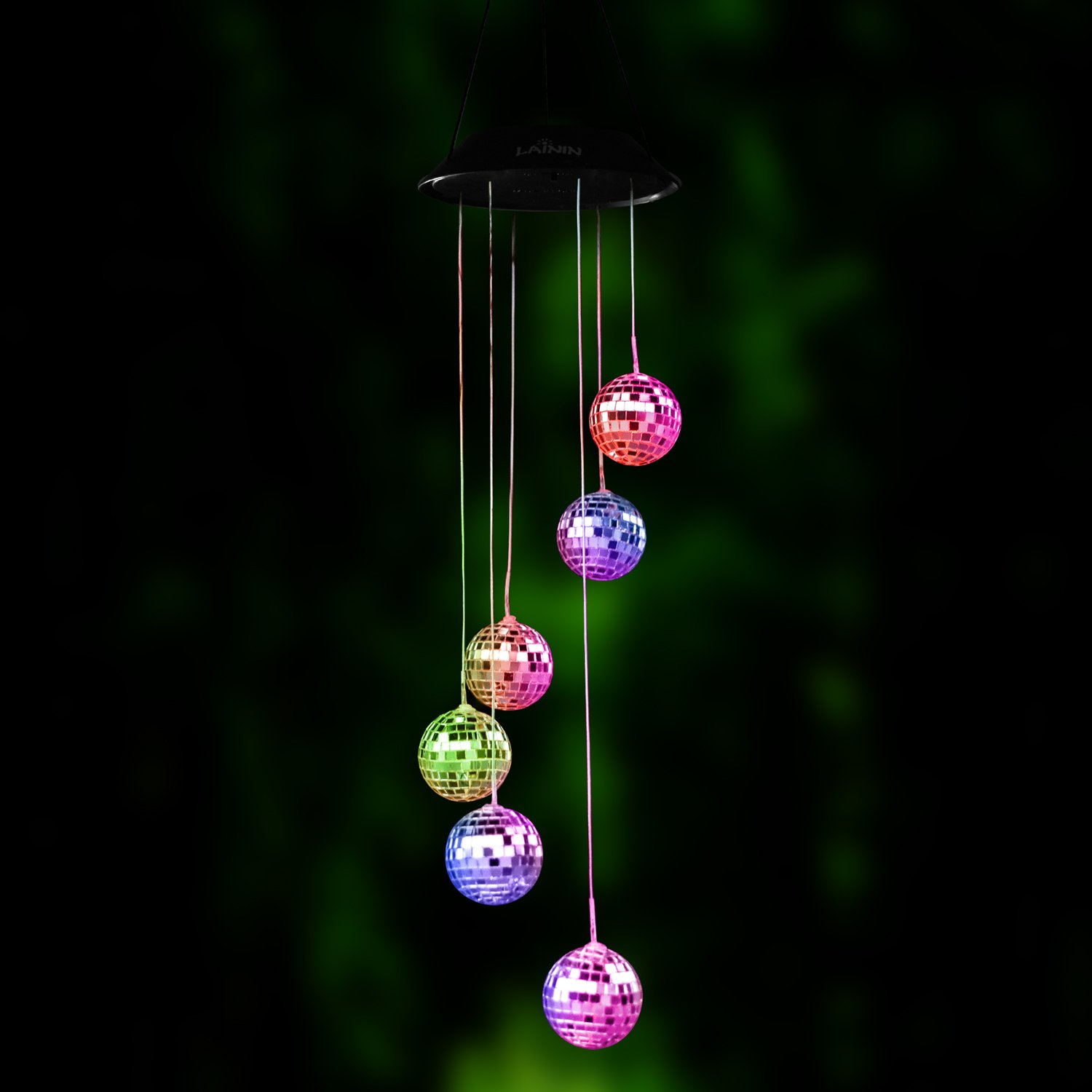 Novadeal Color Changing Solar Wind Spinner, Disco Ball Shape Solar Wind Chime Night Light For Home Outdoor Garden Ligting Decor