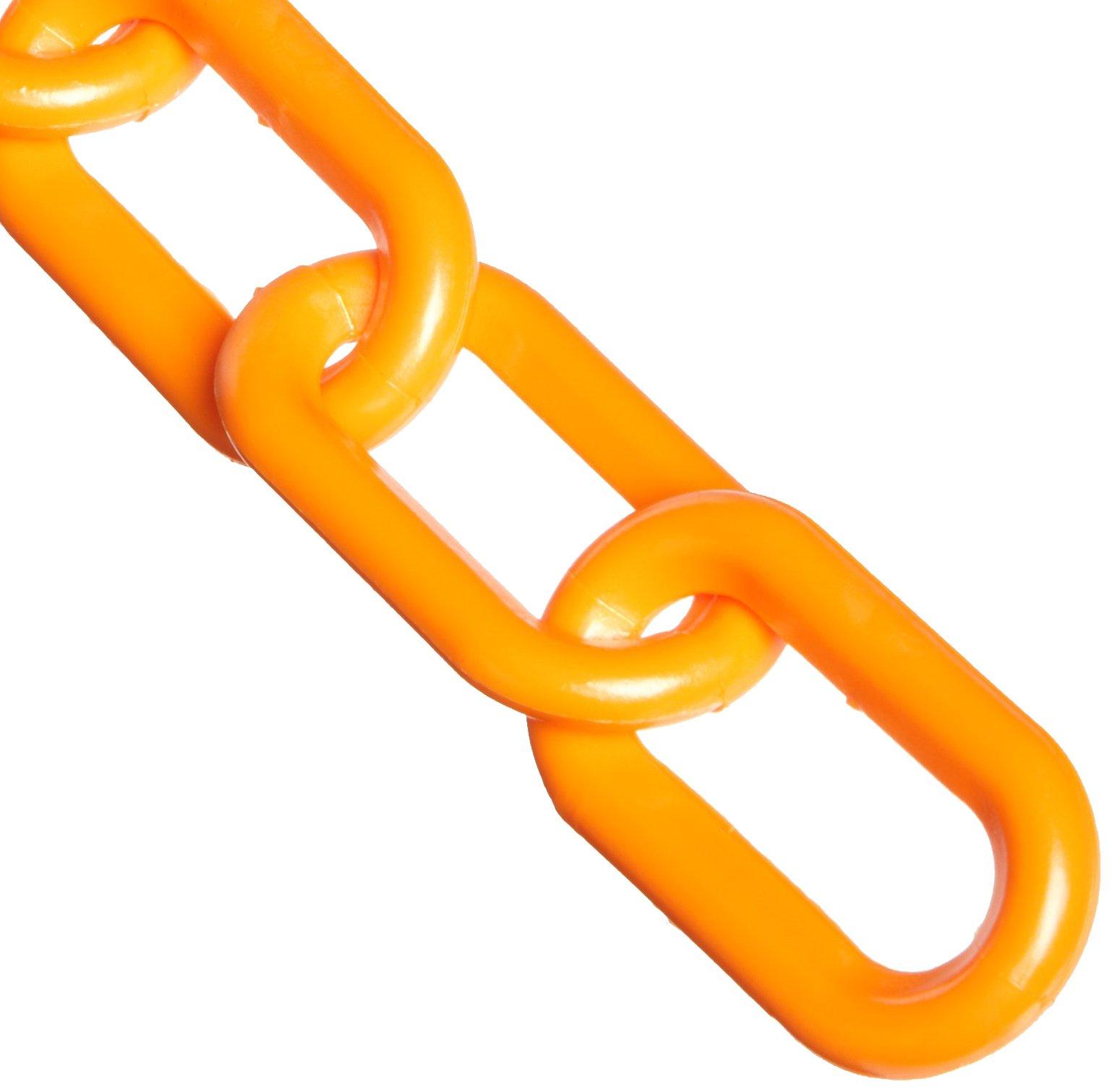 Mr. Chain Plastic Barrier Chain, 2'' Diameter, 100' Length, Orange