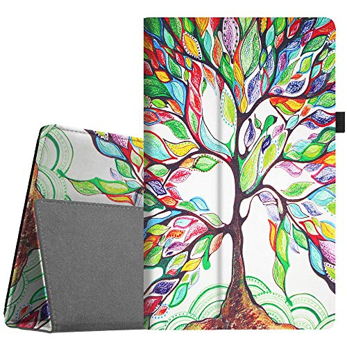 Fintie Folio Case for All-New Amazon Fire HD 10 Tablet (Compatible with 7th and 9th Generations, 2017 and 2019 Releases) - Premium PU Leather Slim Fit Stand Cover with Auto Wake/Sleep, Love Tree