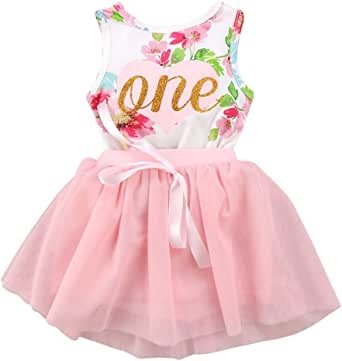 Baby Girls 1st Birthday Cake Smash Tutu Dress Princess Sleeveless Floral Romper Top with Tutu Skirt Outfit