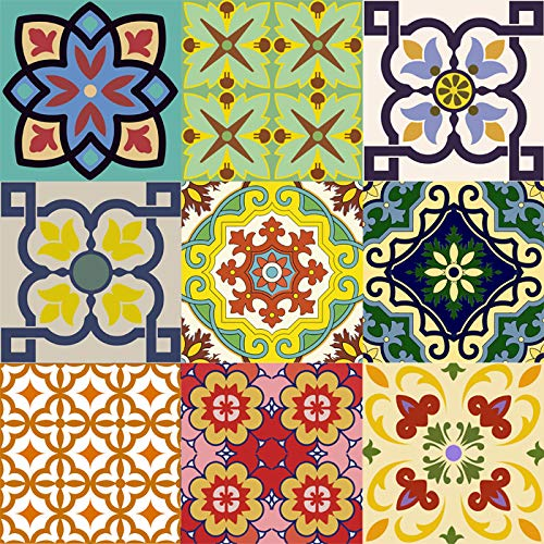 Mi Alma Backsplash Tile Stickers 24 PC Set Traditional Talavera Tiles Stickers -