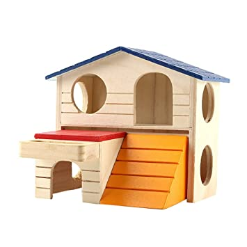 AOOPOO: Caseta de hámster para mascotas de 2 capas de madera para animales pequeños como