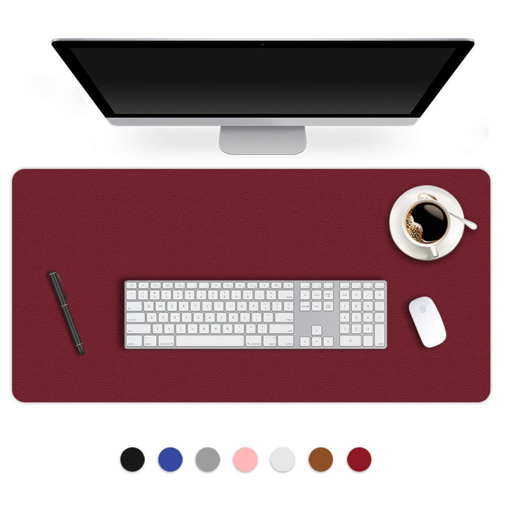 Desk Mat PU Leather Blotter Pad for Desktop on Top of Office Computer Laptop Writing Gaming Décor Accessories Table Topper Protector Under Keyboard Mousepad Pads Waterproof Burgundy XL 24 X 36 Inch