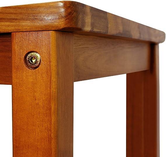 2x Tabouret haut Chaises haute en bois acacia bar dossier repose-pied 110x40x36cm bistrot