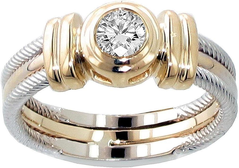VIP Jewelry Art 0.25 CT TW Two Tone Bezel Set Diamond Anniversary Wedding Ring in 14k Gold