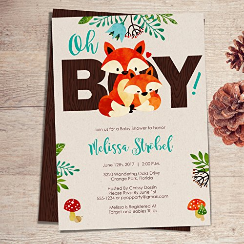 Amazon Com Fox Baby Shower Invitations Boy Fox Themed Woodland