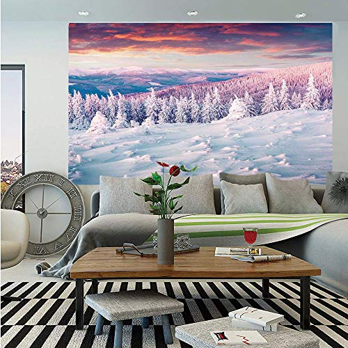 SoSung Winter Decorations Huge Photo Wall Mural,European Mountain Pine Forest with Sky Colors Overcast Windy Fresh Image,Self-Adhesive Large Wallpaper for Home Decor 100x144 inches,White Pink -