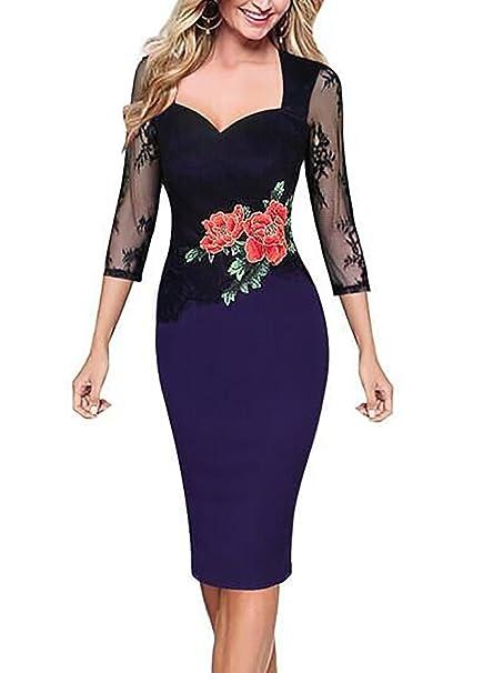 SparklingYXB Vestido con falda lápiz para mujer, estilo retro, bordado de flores