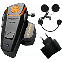 Qaurora BT-S2 1000 M Bluetooth Headset Impermeable, Casco Intercomunicador Interphone Móvil para 2 o 3 Jinetes y 2,5 mm de Audio para Walkie Talkie GPS (1 Pieza)