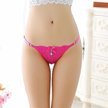 XJKLFJSIU Sexy Encaje Ajustable Ropa Interior Femenina/Transparente Seduction Lencería/Tanga, Rosa Rojo