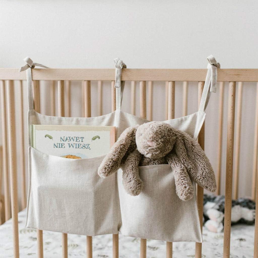 Haptian Baby Crib Organizer Bett h/ängend Aufbewahrungstasche f/ür Baby Essentials Mehrzweck Baby Bett Organizer h/ängendes Windelspielzeug Gewebe