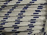 3/4'' X 200' Double Braid Polyester Arborist Bull Rope, White/blue