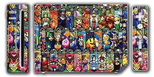 Super Smash Bros Melee Brawl Mario Pikachu Yoshi Mega Man Zelda Sonic Metroid Stained Glass Art Video Game Vinyl Decal Skin Sticker Cover for the Nintendo Wii System Console (Smash Decal Super Bros)