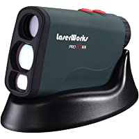 LaserWorks PRO X7 Golf Rangefinder with Flagpole Lock-Slope-Wireless Charging USB