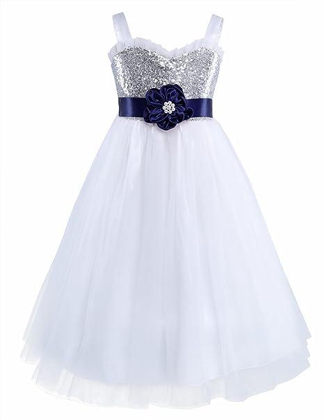 iiniim Vestido de Niñas Elegante Brillante Ceremonia Vestido Sin Manga de Fiesta Azul Marino 10