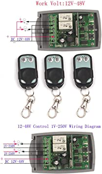 [DIAGRAM_38IS]  12V-48V 2CH 24V Wireless Remote Relay Switch Relay Module Receiver  Universal Light Window Garage Door Opener Remote Kit (3X Control 433MHz) -  - Amazon.com | Liftmaster Remote Wiring Diagram |  | Amazon.com
