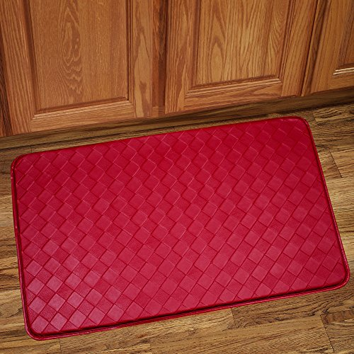 Sweet Home Collection Memory Foam Anti Fatigue Kitchen Floor Mat Rug, Diamond Red, 30