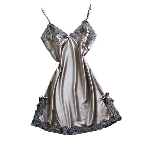 ABsoar Lingeries Damen Verführerisch Dessous Hübsch Satin Nachthemd Rückenfrei Nachtkleid Nachtwäsche V Ausschnitt Negligee P