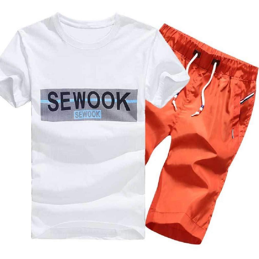 Comaba Men Short Sleeve Beach Flower Print Jacket Sweatshirt Set