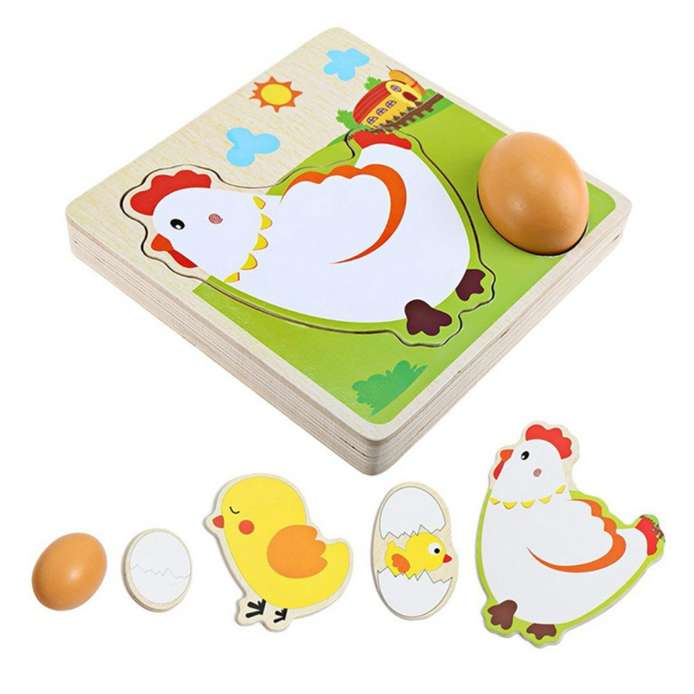 3D Puzzle Mulit Layer Chicken Hen Lay Eggs Growing Up Cartoon Children Kids Wooden Puzzles Panel Process Early Emulatio