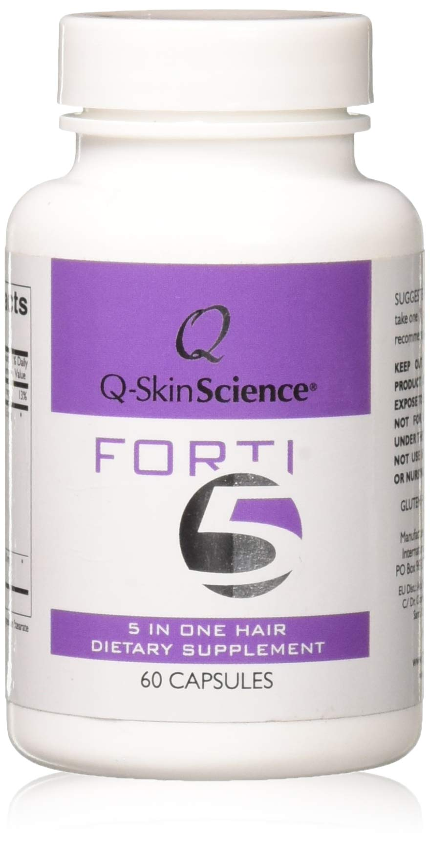 Forti5 - Hair Growth and Prevention of Hair Loss Dietary Supplement & Vitamins 5 Key Substances in 1 Product for faster growth of Thicker and Healthier Hair, by Quintessence - 60 caps, 1 m. supply