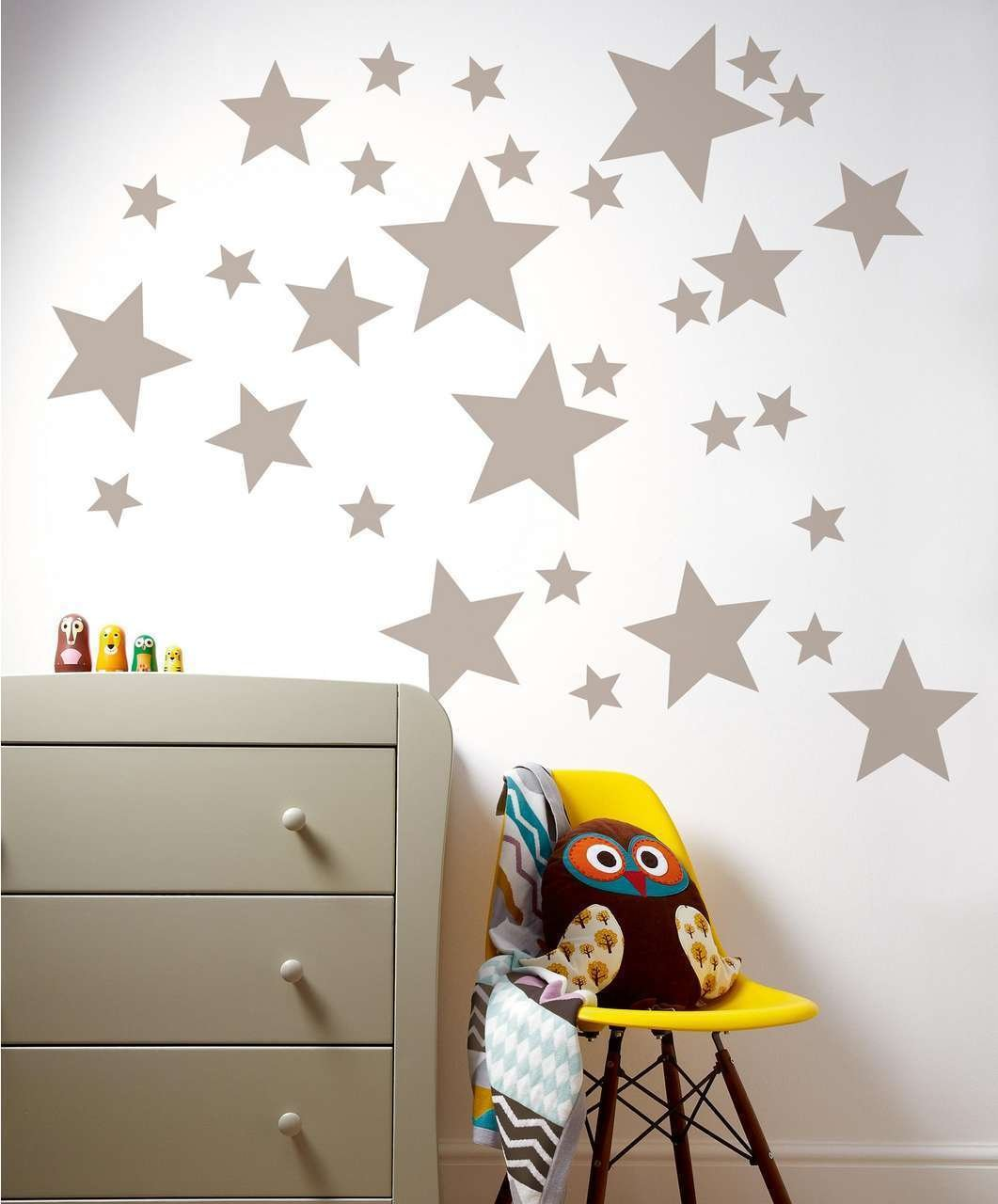 55 Mixed size Stars Wall Stickers Kid Decal Art Nursery Bedroom Vinyl Decoration (Bright Yellow)