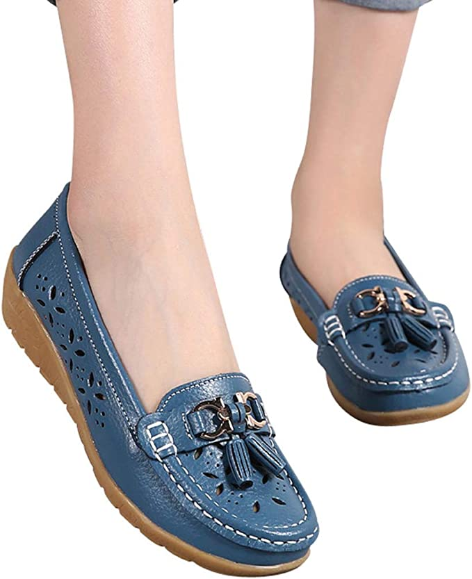 Amlaiworld Women Loafer Shoes Casual Flat Soft Bottom Outdoor Leisure Lightweight Boat Shoes Walking Single Shoes