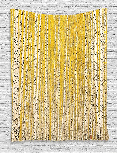 Ambesonne Farm House Decor Collection, Autumn Birch Forest Golden Leaves Seasonally Scenics Picture Print, Bedroom Living Kids Girls Boys Room Dorm Accessories Wall Hanging Tapestry, Mustard Ivory