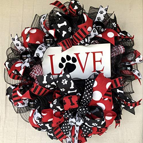 Dog Wreath | Everyday Decor | Welcome Door Hanger | Farmhouse Decor | FREE Shipping | Burlap Bowtique