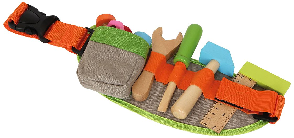 Toddlers Coloured Wooden Tool Toy Belt - Includes Securing Buckle - 615AmTLIlQL - small foot company Wood Tool Belt