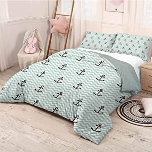HELLOLEON Anchor Decor Collection Pure Bedding Hotel Luxury Bed Linen Pattern of Anchors and Waves Striped Exotic Vacation Old Times Happiness Tour Image Polyester - Soft and Breathable (Queen) Blu
