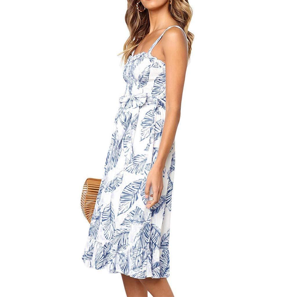 ❤️❤️ Women's Ruffle Tie Summer Boho Spaghetti Strap Semi-Backless Button Down A-Line Midi Dress with Belt Blue by HTHJSCO-Dress (Image #3)