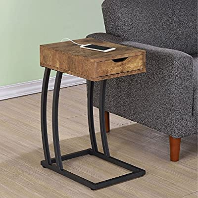 Coaster Furniture Metal and Wood C-Shaped Accent Table