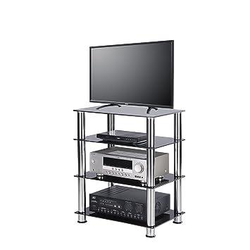 RFIVER Meuble TV Hifi  4 Etages Meuble de Rangement  Télé DVD