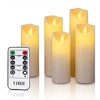 YIWER Sin Llama Velas de Cera Real, no plástico pilares, Realista Led Dancing Mood Velas y 10Key Mando a Distancia con Temporizador de 24Horas función yiwei. (Marfil), 5