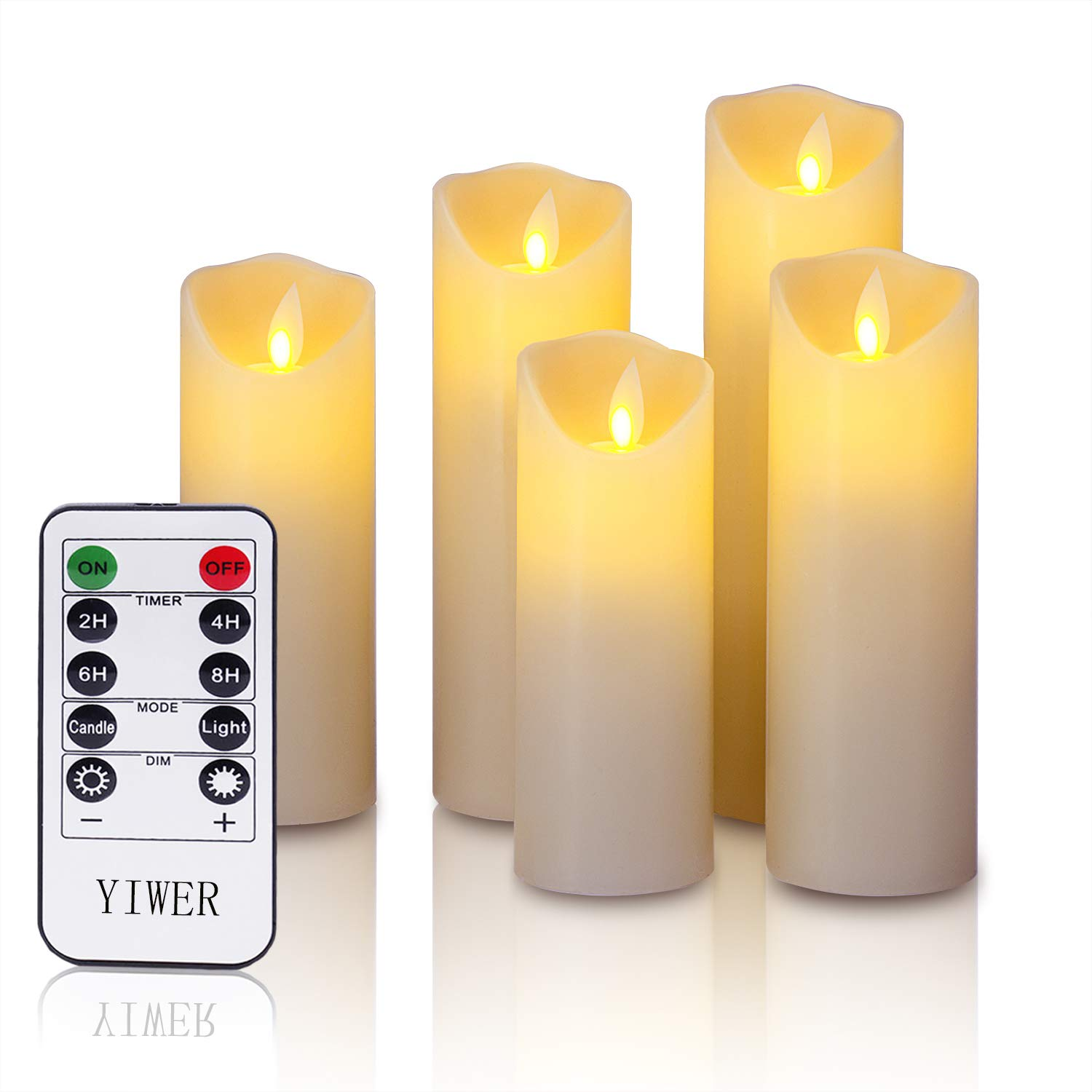 LED candles 5.5 6 6.5 7 8Set of 5 Real Wax Battery Flameless Candles Include Realistic Dancing LED Flames and 10 key Remote Control with 2 4 6 8 hours Timer Function 300 Hours YIWER 5x1 Ivory