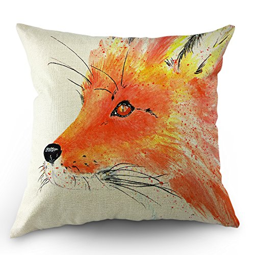 Moslion Fox Pillows Decorative Throw Pillow Cover Cute Animal Watercolor Red Fox Pillow Case 18x18 Inch Cotton Linen Canvas Cushion Cover Happy Father's Day Sofa Bed Red Orange White