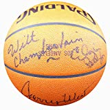 Los Angeles Lakers Legends Autographed Official Spalding Leather Lakers Game Basketball With 5 Signatures Including Wilt Chamberlain, Magic Johnson, - Beckett COA