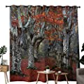 NUOMANAN Grommet Curtains Seasons,Dreamy Gated Beech Trees Forest with Fall Leaf Mother Earth Natural Wonders Theme,Grey Red,Blackout Draperies for Bedroom Window