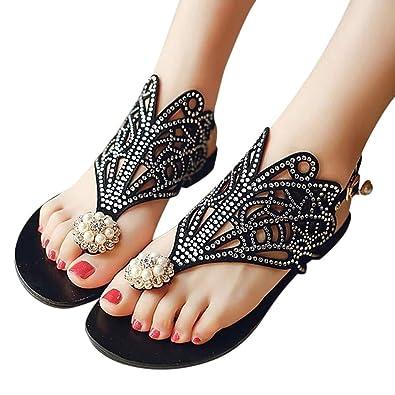 3b202d612a2d00 Amazon.com  Huitian23 Women Rhinestone Flat Sandals Braided Strap Tong  Sandal Beach Shoes Slipper  Shoes