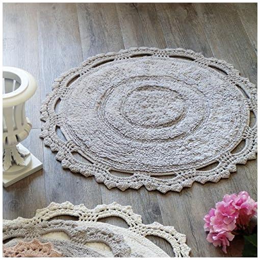 Accessori Bagno Blanc Mariclo.Tappeto Bagno Tondo Shabby Chic Bordo Crochet Blanc Mariclo