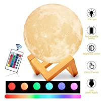 Elecstars Moon Lamp, 3D Printing LED Night Light, 16 Colors RGB Moon Light with Remote & Touch Control, Adjustable Brightness&USB Recharge Light for Kids Baby Nursery Bedroom Creative Gift(5.9 inch)