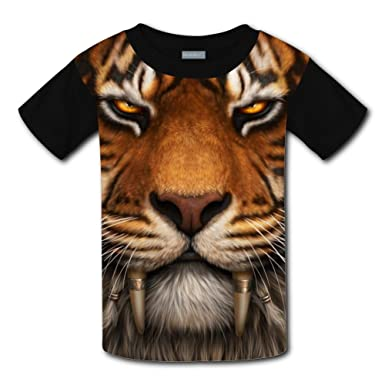 Qualra Kids Fashion Saber Tooth Tiger Face 3D Print T Shirts Short Sleeve Tees