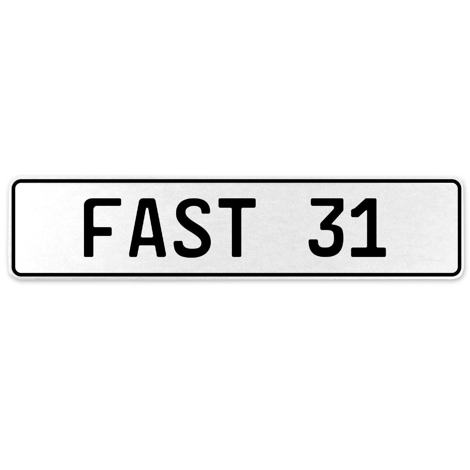 Vintage Parts 557301 Fast 31 White Stamped Aluminum European License Plate