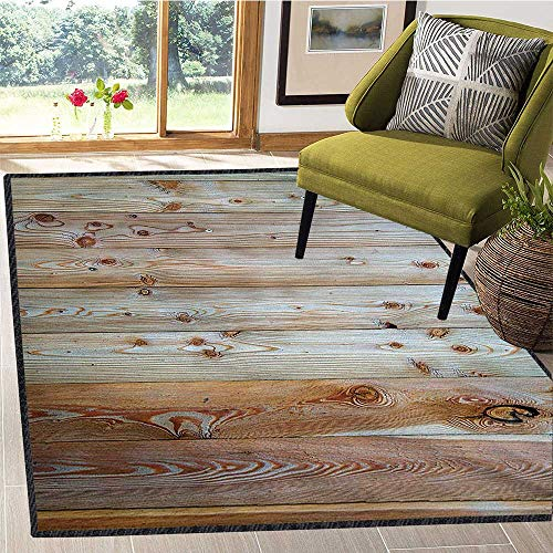 Rustic, Area Rug Kids Girl, Monochrome Wood Design Minimalist Rough Rustic Tiled Logs Row Plank Surface Texture Image, Door Mats for Inside 6x9 Ft Cream