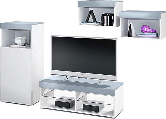 Conjunto de Muebles de Pared Pure, Cuerpo en Blanco Mate/Partes Superiores y Paneles en Mezclilla | Amplia selección de Colores: Vladon: Amazon.es: Hogar