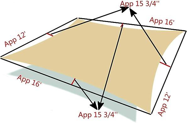 ABO Gear Shade Sail Patio Canopy 12'x16' Durable Sun Shade Sail Shade Canopy