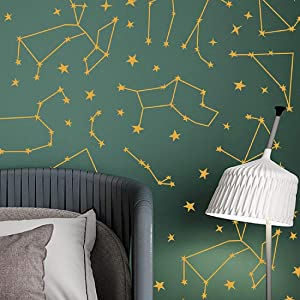 Stars and Constellations Wall Decals Peel and Stick Geometric Zodiac Horoscope Stickers Art Mural Decor for Home Dorm Office Party Nursery
